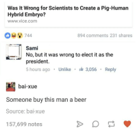 Beer, Humans of Tumblr, and Vice: Was it Wrong for Scientists to Create a Pig-Human  Hybrid Embryo?  www vice com  894 comments 231 shares  T Sami  No, but it was wrong to elect it as the  president.  5 hours ago  Unlike  3.056  Reply  bai-xue  Someone buy this man a beer  Source: bai-xue  157,699 notes