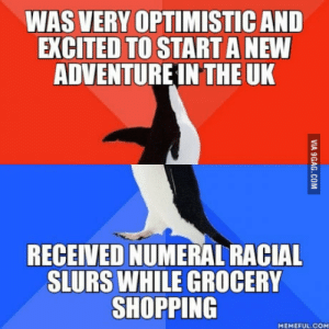 As a foreign exchange student from Canada: WAS VERY OPTIMISTIC AND  EXCITED TO START A NEW  ADVENTUREIN THE UK  RECEIVED NUMERAL RACIAL  SLURS WHILE GROCERY  SHOPPING  MEMEFUL COM As a foreign exchange student from Canada