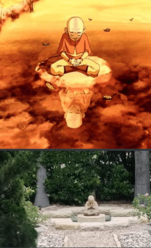 Was watching Avatar when i looked in my yard and saw a similar scene. Ive now named the statue Aang.: Was watching Avatar when i looked in my yard and saw a similar scene. Ive now named the statue Aang.
