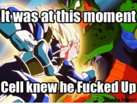 He did lol: wasat this moment  Cell knew he FuckedUp He did lol