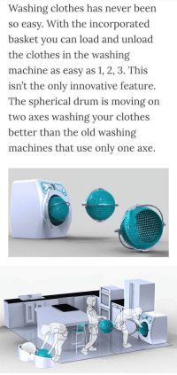 Orbital Washing Machine: Washing clothes has never been  so easy. With the incorporated  basket you can load and unload  the clothes in the washing  machine as easy as 1, 2, 3. This  isn't the only innovative feature.  The spherical drum is moving on  two axes washing your clothes  better than the old washing  machines that use only one axe. Orbital Washing Machine