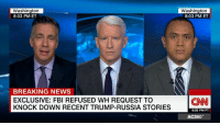 Fbi, Memes, and News: Washington  8:03 PM ET  BREAKING NEWS  EXCLUSIVE: FBI REFUSED WH REQUEST TO  KNOCK DOWN RECENT TRUMP-RUSSIA STORIES  Washington  8:03 PM ET  (CNN  5:03 PM PT  AC360° The FBI rejected a recent White House request to publicly knock down media reports about communications between Donald Trump's associates and Russians known to US intelligence during the 2016 presidential campaign, multiple US officials briefed on the matter tell CNN. http://cnn.it/2lBnrjD