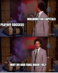 National Hockey League (NHL), Doubt, and Success: WASHINGTON CAPITALS  PLAYOFF SUCCESS  WHY DO OUR FANS DOUBT US?  wi.cond  imgflip.com