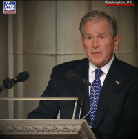 """So through our tears, let us know the blessings of knowing and loving you — a great and noble man, the best father a son or daughter could have. And in our grief, let us smile knowing that dad is hugging Robin and holding mom's hand again."" Former President George W. Bush delivers an emotional eulogy at his father's funeral on Wednesday.: Washington, D.C.  FOX  chan nel ""So through our tears, let us know the blessings of knowing and loving you — a great and noble man, the best father a son or daughter could have. And in our grief, let us smile knowing that dad is hugging Robin and holding mom's hand again."" Former President George W. Bush delivers an emotional eulogy at his father's funeral on Wednesday."