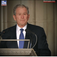 """And the last words he would ever say on Earth were, 'I love you, too.'"" While delivering an emotional eulogy Wednesday at the Washington National Cathedral, former President George W. Bush revealed details from his final goodbye to his father.: Washington, D.C.  OX  chan nel ""And the last words he would ever say on Earth were, 'I love you, too.'"" While delivering an emotional eulogy Wednesday at the Washington National Cathedral, former President George W. Bush revealed details from his final goodbye to his father."