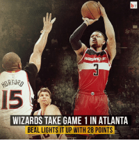 The Wizards win 104-98 to take Game 1 in Atlanta! Bradley Beal drops 28 points in the victory! 🏀: washington  WIZARDS TAKE GAME 1 IN ATLANTA  BEAL LIGHTS IT UP WITH 28 POINTS The Wizards win 104-98 to take Game 1 in Atlanta! Bradley Beal drops 28 points in the victory! 🏀