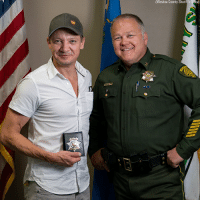 "Avengers star Jeremy Renner was honored by his local police department on August 30. The Washoe County Sheriff's Office held a ceremony that awarded the actor the title of ""special deputy sheriff."": Washoe  County  Sherift's  Offica) Avengers star Jeremy Renner was honored by his local police department on August 30. The Washoe County Sheriff's Office held a ceremony that awarded the actor the title of ""special deputy sheriff."""