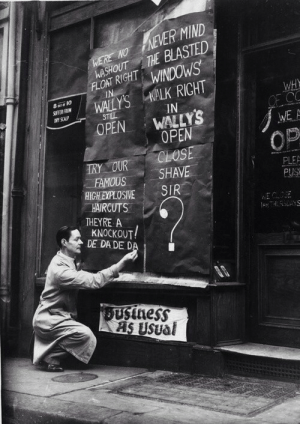 "historynet:  Wally's barber shop on St Martin Street has defiant signs after losing its windows during the London blitz. 21st Nov 1940 [500x706]: WASHOUT THE BLASTED  FLOAT RIGHT WINDOWS  IN  WERE NO NEVER MIND  WALLY'S WALK RIGHT  IN  WH  OF CC  WE A  SFER FRON  MY SCALP  STIL  WALLY'S  OPEN  OPEN  CLOSE  SHAVE  SIR  OP  TRY OUR  FAMOUS  HICH EXPLOSIVE  HAIRCUTS  THEYRE A  KNOCKOUT!  DE DA DE DA  PLEE  PUSE  WECLOE  lay""CAYS  DUsiness  AAS USual historynet:  Wally's barber shop on St Martin Street has defiant signs after losing its windows during the London blitz. 21st Nov 1940 [500x706]"
