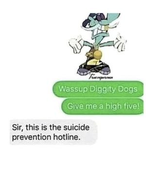 Chip: Wassup Diggity Dogs  Give me a high five!  Sir, this is the suicide  prevention hotline. Chip