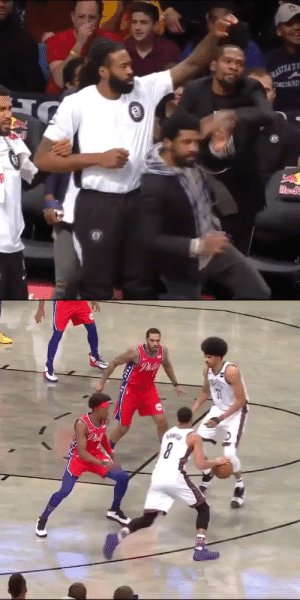 The Brooklyn Nets bench having too much fun! KD really pushed Kyrie 😂 https://t.co/LqsVKFtotN: WASTEA'S  TIMEYARD  Redi  CEN   Phil  Phit The Brooklyn Nets bench having too much fun! KD really pushed Kyrie 😂 https://t.co/LqsVKFtotN