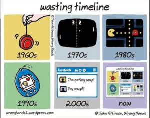 Wasting time: wasting timeline  2  1960s  197Os  1980s  facebook  wasting timeline  Tm eating soup!  Yay soup!!  18c0s  1990s  200Os  now  wronghands1.wordpress.com  Tohn Atkinson, Wrong Hands Wasting time