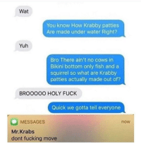 """Fucking, Memes, and Mr. Krabs: Wat  You know How Krabby patties  Are made under water Right?  Yuh  Bro There ain't no cows in  Bikini bottom only fish and a  squirrel so what are Krabby  patties actually made out of?  BROOOOO HOLY FUCK  Quick we gotta tell everyone  MESSAGES  Mr.Krabs  dont fucking move  now <p>So that's the secret formula via /r/memes <a href=""""http://ift.tt/2DrygO9"""">http://ift.tt/2DrygO9</a></p>"""