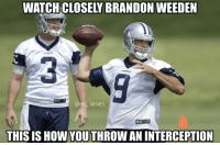 Brandon Weeden is really starting to click with the Cardinals' defense: WATCH CLOSEY BRANDON WEEDEN  @NFL MEMES  THIS IS HOW YOUTHROW AN INTERCEPTION Brandon Weeden is really starting to click with the Cardinals' defense