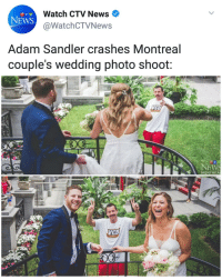 """I wonder what Adam Sandler is up to these days.."" ""Oh hey!"": Watch CTV News  @WatchCTVNews  NEWS  Adam Sandler crashes Montreal  couple's wedding photo shoot:  NEW  MONTREA ""I wonder what Adam Sandler is up to these days.."" ""Oh hey!"""