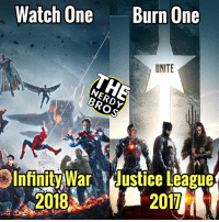 "Bad, Batman, and Hype: Watch One  Burn One  UNITE  Infinity War Justice League  207 Another watch1burn1 for you guys! This one was requested by @john_daniel2005. Which movie are you guys more excited to see? Both upcoming films, featuring a team of superheroes working together to stop a powerful villain. But which movie are you more excited to see??🤔 - - I, Luke, am more excited to see ""Avengers: Infinity War"" for several reasons. 1). All the characters in Infinity Wars are already developed. Or most of them are. 2). Because of the relationship we've had with some of the characters in previous films, it makes me more excited to see them again. 3). We've waited to see Thanos in action for several years. 4). We're going to see 60+ superheroes in one movie!! 5). Let's face it, we know what we're getting with a Marvel movie. Although Justice League looks very promising, especially after the SDCC hype, there is still an uncertainty on whether the movie will be good or not. Let's hope for the best. I'm not saying EVERY DCEU movie was bad, I AM saying that there's an uncertainty. But what do you guys think??? Which movie??? - - GeekFaction thenerdybros Trendy Robin wonderwoman flash cyborg superman JusticeLeague Batman thedarkknight nightwing like4like instagood DC marvel comics superhero Fandom marvel detectivecomics warnerbros superheroes theherocentral hero comics avengers starwars justiceleague herocentral"