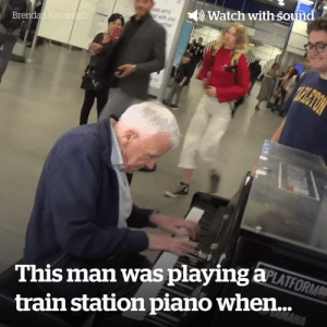 This man was playing the piano by himself... Then something amazing happened 😍🙌: Watch with sound  Brendan Kavanagh  TPLETON  This man was playing aLATFORM  MAHA  train station piano when... This man was playing the piano by himself... Then something amazing happened 😍🙌