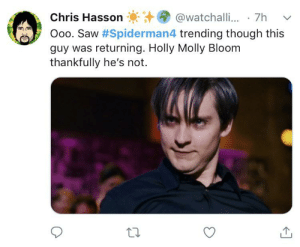 Molly, Saw, and Tweet: @watchalli.. 7h  Chris Hasson  Ooo. Saw #Spiderman4 trending though this  guy was returning. Holly Molly Bloom  thankfully he's not The worlds worst tweet doesn't exis-