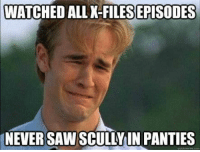Saw, Tfw, and Never: WATCHED ALL K-FILES  EPISODES  NEVER SAW SCULLYIN PANTIES Tfw skully never shows panties