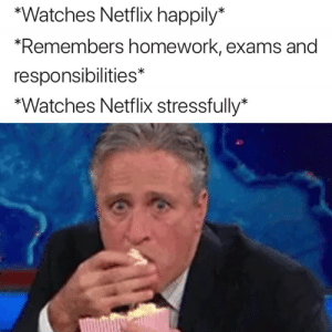 Netflix, Watches, and Homework: *Watches Netflix happily*  Remembers homework, exams and  responsibilities*  *Watches Netflix stressfully* 🍿😬