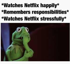 Every time  Dank memes Cool quotes Funny memes  : *Watches Netflix happily*  *Remembers responsibilities*  *Watches Netflix stressfully'* Every time  Dank memes Cool quotes Funny memes