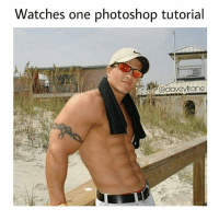 Memes, Photoshop, and Watches: Watches one photoshop tutorial  @daveytrane Why workout when you can just use photoshop 🤔 - Follow me @hoodcumedy for more memes 💀