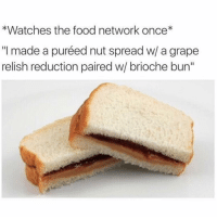 """Food Network, Memes, and 🤖: *Watches the food network once*  """"I made a puréed nut spread w/ a grape  relish reduction paired w/ brioche bun"""" me (@mfwrong)"""