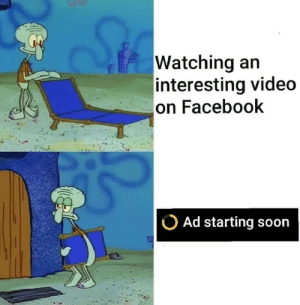 Facebook, Soon..., and Video: Watching an  interesting video  on Facebook  Ad starting soon