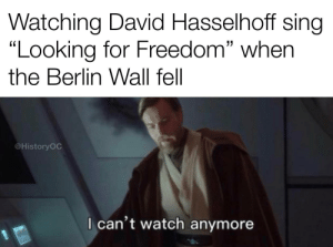 """Cringe worthy: Watching David Hasselhoff sing  """"Looking for Freedom"""" when  the Berlin Wall fell  @HistoryOC  I can't watch anymore Cringe worthy"""