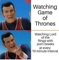 Game of Thrones, True, and Game: Watching  Game  of  Thrones  Watching Lord  of the  Rings with  porn breaks  at every  10-minute interval True though.