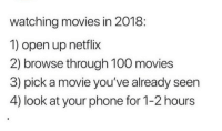 Anaconda, Movies, and Netflix: watching movies in 2018:  1) open up netflix  2) browse through 100 movies  3) pick a movie you've already seen  4) look at your phone for 1-2 hours