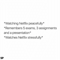 Netflix, Watches, and  Exams: *Watching Netflix peacefully*  *Remembers 5 exams, 3 assignments  and a presentation*  *Watches Netflix stressfully*  SP 😰