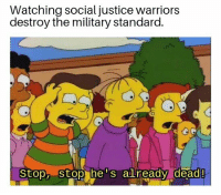 Discuss: Watching social justice warriors  destroy the military standard.  Stop, stop he s already  dead! Discuss