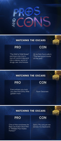 "<p>In honor of the Oscars this weekend: <a href=""http://www.youtube.com/watch?v=xPRuTJvEdMw&amp;feature=c4-overview&amp;list=UU8-Th83bH_thdKZDJCrn88g"" title=""Pros and Cons: Watching the Oscars"" target=""_blank"">Pros and Cons: Watching the Oscars</a> Edition!</p>: WATCHING THE OSCARS  PRO  CON  The Wolf of Wall Street  portrays one man's  out-of-control descent  into a sleazy world of  drugs, sex, and booze.  Or as Rob Ford calls it,  ""The feel good movie  of the year.""   WATCHING THE OSCARS  PRO  CON  Everywhere you look  you see that shiny little  golden man:  Ryan Seacrest.   WATCHING THE OSCARS  PRO  CON  One of the nominees for Sorry. My cat just ran  Best Live Action Short Filmacross my keyboard.  is ""Pitääkö Mun Kaikki  Hoitaa?"" <p>In honor of the Oscars this weekend: <a href=""http://www.youtube.com/watch?v=xPRuTJvEdMw&amp;feature=c4-overview&amp;list=UU8-Th83bH_thdKZDJCrn88g"" title=""Pros and Cons: Watching the Oscars"" target=""_blank"">Pros and Cons: Watching the Oscars</a> Edition!</p>"