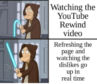 Memes, youtube.com, and Time: Watching the  YouTube  Rewind  video  Refreshing the  page and  watching the  dislikes go  up in  real time Its a much better use of your time. via /r/memes https://ift.tt/2rs21cn