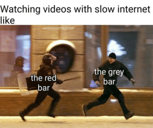 Internet, Videos, and Grey: Watching videos with slow internet  like  oooooooimaghost  the grey  bar  the red  bar Me_irl