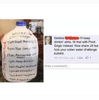 Awesomness: Water  Challenge  Debbie  I'll keep  1am Good Mor  drinkin' alrite, fill that with Pinot  ning  Grigio instead. Nice share Jill but  9am-You CAN  TH15!  fuck your sober water challenge  bullshit.  llam-Remember your  48 minutes ago Like 1  1pm-Keep drinkin'  3pm-Feelin' awesom  Nrite a comment  3pm-No ExcusES  TPm*olst temptation  9pm Almost deo