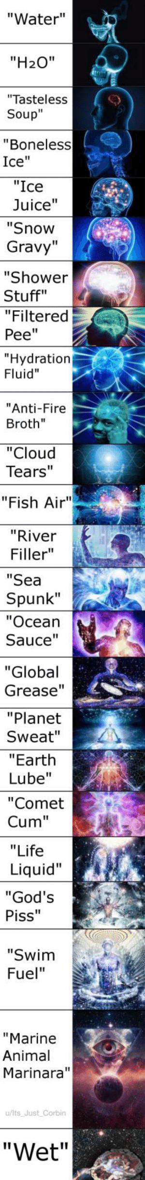 "OC Maymay ♨6 million years of evolution have led to this memes creation. become 𝓮 𝓷 𝓵 𝓲 𝓰 𝓱 𝓽 𝓮 𝓷 𝓮 𝓭. (i.redd.it): ""Water""  ""H20""  ""Tasteless  Soup""  ""Boneless  Ice""  ""Ice  Juice""  ""Snow  Gravy""  ""Shower  Stuff""  ""Filtered  Pee""  Hydration  Fluid""  Anti-Fire  Broth""  ""Cloud  Tears""  ""Fish Air""  ""River  Filler""  ""Sea  Spunk""  ""Ocean  Sauce  ""Global  Grease'""  ""Planet  Sweat""  ""Earth  Lube""  ""Comet  Cum""  ""Life  Liquid""  God's  Piss""  ""Swim  Fuel""  ""Marine  Animal  Marinara""  u/lts Just Corbin  ""Wet"" OC Maymay ♨6 million years of evolution have led to this memes creation. become 𝓮 𝓷 𝓵 𝓲 𝓰 𝓱 𝓽 𝓮 𝓷 𝓮 𝓭. (i.redd.it)"
