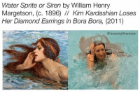 I should start making these again: Water Sprite or Siren by William Henry  Margetson, (c. 1896) /I Kim Kardashian Loses  Her Diamond Earrings in Bora Bora, (2011)  @weareallmemes I should start making these again