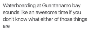 If You Dont Know: Waterboarding at Guantanamo bay  sounds like an awesome time if you  don't know what either of those things  are