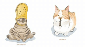 Cats, Cute, and Funny: Watercasior  watercatlor Artist Amelia Rizky takes funny cat photos and memes and turns them into cute digital watercolor illustrations.#cats #funnycats #catillustrations #catart #watercolor #cat memes