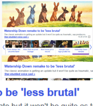 Tumblr, Blog, and House: Watership Down remake to be 'less brutal  The classic animation is getting an update but it won't be quite as traumatic, say producers  Star-studded voice cast >»  16-20 of 30 I  FOR SALE  Posh always 'felt  uncomfortable  Films that recycled  footage  New house  record  Wenger eyes  high-profile trio  Watership Down  remake  price   Watership Down remake to be 'less brutal  The classic animation is getting an update but it won't be quite as traumatic, sa  Star-studded voice cast>»   be 'less brutal owsalfa: