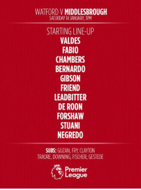 TEAM NEWS | Here's how #Boro line up to face Watford FC this afternoon. #UTB: WATFORD V  MIDDLESBROUGH  SATURDAY 14 JANUARY 3PM  STARTING LINE-UP  VALDES  FABIO  CHAMBERS  BERNARDO  GIBSON  FRIEND  LEAD BITTER  DE ROON  FORSHAW  STUANI  NEGREDO  SUBS:  GUZAN, FRY, CLAYTON  TRAORE, DOWNING, FISCHER, GESTEDE  Premier  League TEAM NEWS | Here's how #Boro line up to face Watford FC this afternoon. #UTB