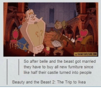 Beauty and the Beast: WATHEMETAPICTURE COM  So after belle and the beast got married  they have to buy all new furniture since  like half their castle turned into people  Beauty and the Beast 2: The Trip to lkea
