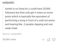 Tumblr is funny: wattpadfic  tumblr is so funny bc u could have 20,000  followers but then only get 3 notes on some  posts which is basically the equivalent of  performing a song in front of a sold out arena  and hearing like...2 people clapping and one  weak cheer  Source: wattpadfic  36,086 notes Tumblr is funny