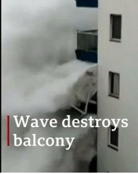 Huge waves have been filmed ripping away a balcony in Tenerife. Reaching heights of 20ft (6m), the huge breakers battered homes, hotels and restaurants. Dozens of people were evacuated from affected areas but no-one was injured, Spanish authorities say. tenerife waves weather bbcnews: Wave destroys  balcony Huge waves have been filmed ripping away a balcony in Tenerife. Reaching heights of 20ft (6m), the huge breakers battered homes, hotels and restaurants. Dozens of people were evacuated from affected areas but no-one was injured, Spanish authorities say. tenerife waves weather bbcnews