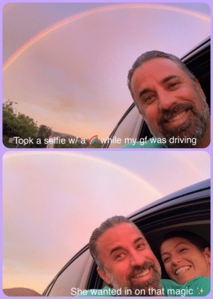 "Driving, Selfie, and Magic: Wawhile my gf was driving  Took a selfie w  She wanted in on that magic ""I want a picture with a rainbow!"""