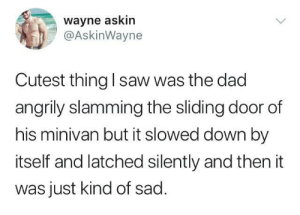 Dad, Saw, and Sad: wayne askin  @AskinWayne  Cutest thing l saw was the dad  angrily slamming the sliding door of  his minivan but it slowed down by  itself and latched silently and then it  was just kind of sad Dad rage