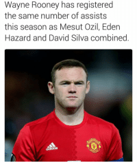 Memes, David Silva, and Eden Hazard: Wayne Rooney has registered  the same number of assists  this season as Mesut Ozil, Eden  Hazard and David Silva combined Thoughts ❓
