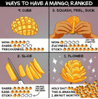 "Food, Memes, and News: WAyS TO HAVE A MANGO, RANKED  3. SQUASH, PEEL, SUCK  4. CUBE  FF THE  CHARTS!!  WOW:  SHARECO  PRECİOUSNESS  Wow:00  JUiCYNESS:  STİCKYO  2. SLiCE  1. FLOWER  UNLESS  SHARE  EASE:  THE SEEDHoLy SHiT  THESEED THİS İS AMAZİNG  I AM NOT WORTHY What's the best way to eat a mango? Hear more on an episode of ""Mangoes and Memories"", a food mini-series by BuzzFeed News podcast @BuzzFeedSeeSomething. Art by @maritsapatrinos . . . mangos podcast memories mangorecipes fruit"
