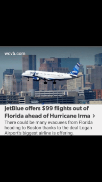 "Tumblr, Blog, and Boston: wcvb.com  JetBlue offers $99 flights out of  Florida ahead of Hurricane Irma >  There could be many evacuees from Florida  heading to Boston thanks to the deal Logan  Airport's biggest airline is offering <p><a href=""http://alwpoomau.tumblr.com/post/165084351399/free-market-solutions-socialism-government"" class=""tumblr_blog"">alwpoomau</a>:</p>  <blockquote><p>Free market solutions &gt; socialism &amp; government bureaucracy</p></blockquote>"